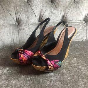 Black, sling back, platform, sandals